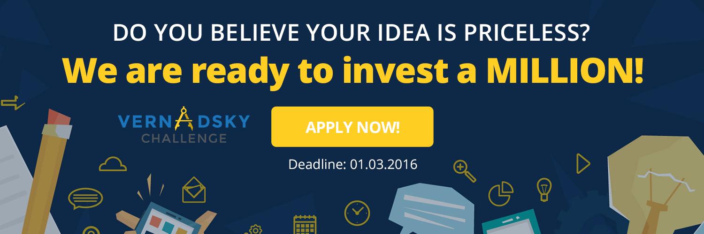Vernadsky Challenge – це конкурс стартапів, завдяки якому ваша ідея стане реальністю. Конкурс створено за ініціативи засновника Noosphere Ventures Максима Полякова та директора Google Україна Дмитра Шоломка.